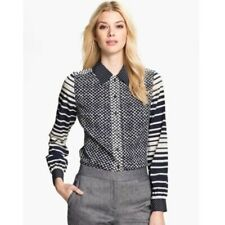 tory burch blouse 8 Polka Dots Stripe Navy White