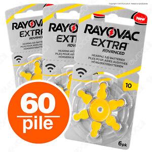 60 Batterie PILE RAYOVAC Extra 10 per Apparecchi Acustici PROTESI udito PR70