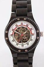 BEDATE Montre Hommes Horloge en bois à remonter manuellement d'ébène sichtwerk