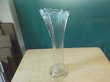 Vintage Clear Glass Pulled Vase with Paneled Sides and a Scalloped Top