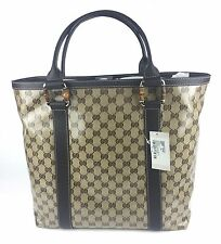 Authentic New Gucci GG Crystal Large Bamboo Accent Tote #339547, NWT