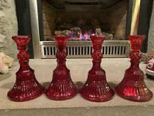 Vintage Ruby Red Glass Candle Stick Taper Holder Set of 4