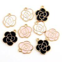 10pcs Flower blooming-Shaped Beads Charms Enamel Pendant Fit  Bracelet Jewelry