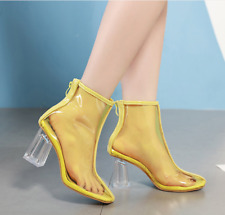 Women Transparent Chunky High Heel Ankle Boots Zipper Clear Pumps Shoes Fashion