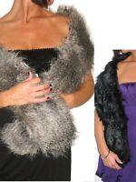 NEW (6228) faux fur shawl collar wrap fox and black