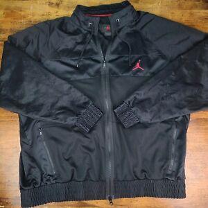 NICE Men's Nike AIR JORDAN Black Full Zip Mesh Track Jacket Windbreaker Size XL