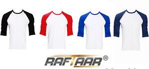 Unisex 100% Cotton Lightweight Baseball Raglan Long Sleeve T Shirts T-shirt Lot