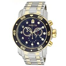 Brand New! Invicta 0077 Mens Pro Diver Chrono Blue Dial Stainless Steel Watch