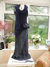 "STUNNING!! ""FENN WRIGHT MANSON"" BLUE SILK & VELVET DRESS & ACCESSORIES MOB Sz 14"