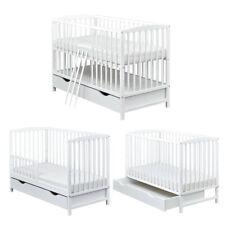 Babybett Kinderbett 2in1 umbaubar Juniorbett Weiß 120x60 Schublade Matratze