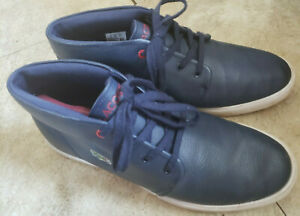 Lacoste Mens Asparta Sneakers Blue Leather Lace Up Mid Top Ortholite Comfort 10