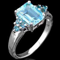 NATURAL 9X7MM SKY BLUE TOPAZ & LONDON BLUE TOPAZ STERLING SILVER 925 RING SIZE 7