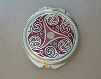 Enamel Celtic Triskele Compact Mirror Trinity Knot RED made in England