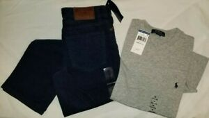 New Polo Ralph Lauren Boys youth outfit corduroys navy t shirt grey M 10/12