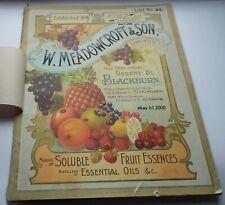 UNIQUE  1914 MEADOWCROFT PRICE CATALOGUE BLACKBURN, BIRMINGHAM, GLASGOW,LONDON