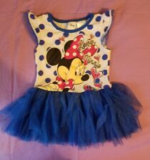 Disney Love Minnie Mouse 5 Girls Small blue Tutu Glitter Jersey Dress