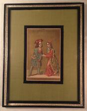Original 16th Century Miniature Print Titled Prince & Princess XV F Siecle