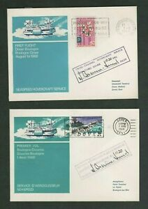 2 Hovercraft First Flight Covers - Dover Boulogne - Dover 1968, Pilot Signed