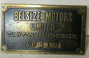 1906-26 Belsize Motors Ltd Clayton Manchester Car Chassis plate No 9317 60x35mm