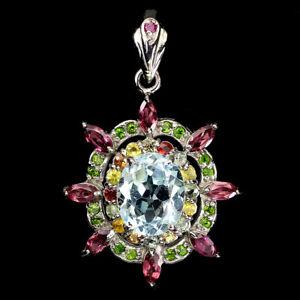 Oval Sky Blue Topaz 11x9mm Rhodolite Sapphire Gems 925 Sterling Silver Pendant