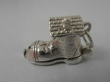 TRADITIONAL STERLING SILVER OPENING BOOT CHARM   VINTAGE SILVER CHARM