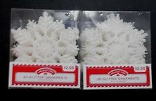 2  Packs  of  White  Glitter  Christmas  Ornaments X-1709
