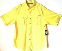 Sean John Mens 2XL Yellow Short Sleeve Casual Button Down Linen/Cotton Shirt NWT