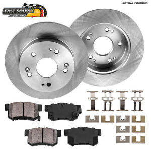 For ILX Honda Civic Coupe Sedan Prelude Rear 259 mm Brake Rotors & Ceramic Pads