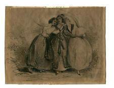 """Three Beauties"" Achille Jacques-Jean-Marie Devéria, Signed Drawing (c.1830)"