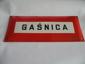 "2 pieces Vintage Polish Fire Protection Related Porcelain Enamel Sign 14""x 5.5"""