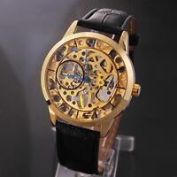 WINNER Men Fashion Mechanical Hand Wind Movement Watch Luxury Leather Skeleton
