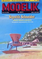 British Seaplane Sopwith Schneider Paper Model + Laser Frame 1:33