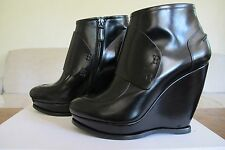 BALENCIAGA BLACK LEATHER PLATFORM WEDGE ANKLE BOOTIES SIZE 40/10 INCREDIBLE NIB