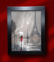 ORIGINAL ROMANTIC OIL PAINTING PETE RUMNEY 'LADY IN RED - PARIS' EIFFEL TOWER