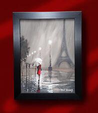 ORIGINAL ROMANTIC OIL PAINTING PETE RUMNEY 'LADY IN RED - PARIS' EIFFEL TOWER