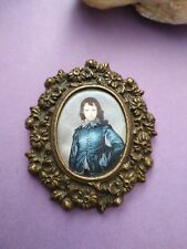 Vintage brass padded silk frame wall hanging paper portrait man made in italy