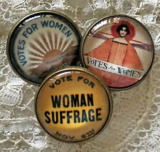 "VOTES FOR WOMEN 7/8"" Glass Dome BUTTON Set of 3 Vintage Suffragette Art"