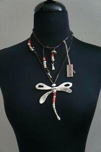 NWT Uno De 50 Silver Dragonfly Red Murano Glass LET IT BLOW Long Short Necklace