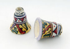 Tumi x 10 Peru bell beads clay ceramic hand made glazed fair trade hand painted