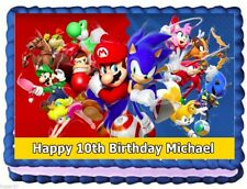 SONIC THE HEDGEHOG W/ MARIO IMAGE EDIBLE CAKE TOPPER BIRTHDAY DECORATIONS