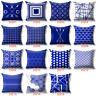 """18x18'' 20"""" 16""""Blue Throw Waist Pillow Case Cushion Cover Fluffy Home Decor Sofa"""