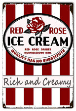 Red Rose Ice Cream Country Reproduction Sign 12x18
