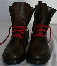WOMANS FRYE BOOTS SIZE 6 VERONICA COMBAT MAPLE DARK BROWN BRUSHED OFF LEATHER