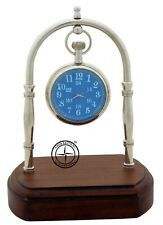 Maritime Brass Desk Clock With Wooden Home Decor Nautical Hanging Watch