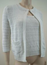 APOSTROPHE White Cotton Mix Knitwear Cami Vest Top & Cardigan Summer Twinset SzS