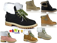 WOMENS LACE UP COLLAR FUR LINED WINTER WARM BUCKLE HI LADIES ANKLE BOOT SIZE 3-8