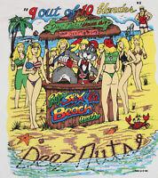 XL * NOS vtg 90s 1995 DEEZ NUTS sex on the beach big bikini babe t shirt johnson