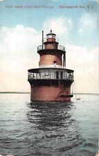 1909 Plum Beach Light House West Passage Narragansett Bay RI post card