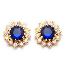 Round 24K Gold Filled Blue Cubic Zircon Women's Stud Earrings With Gift Box