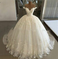New Off Shoulder V Neck Wedding Dresses Lace Bridal Ball Gown White Ivory Custom